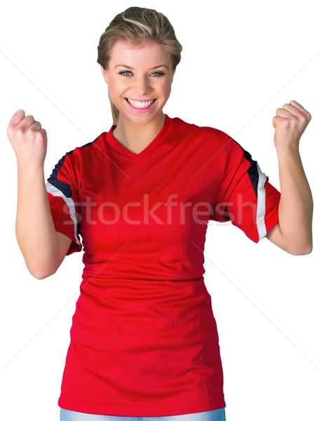 Juichen voetbal fan Rood witte voetbal Stockfoto © wavebreak_media