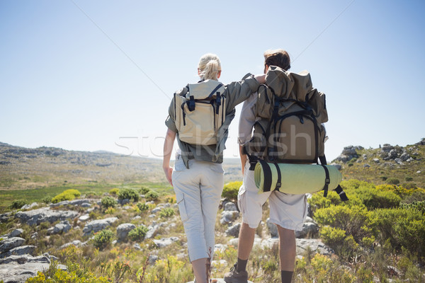 Hiking couple standing on mountain terrain Stock photo © wavebreak_media