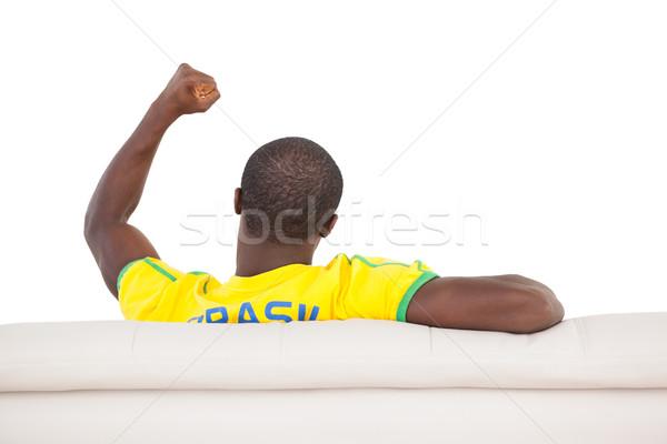 男 座って ソファ 白 スポーツ ストックフォト © wavebreak_media