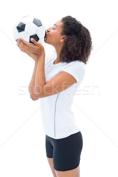 Stock fotó: Csinos · futball · ventillátor · fehér · csók · labda
