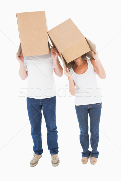 Mature couple wearing boxes over their heads Stock photo © wavebreak_media