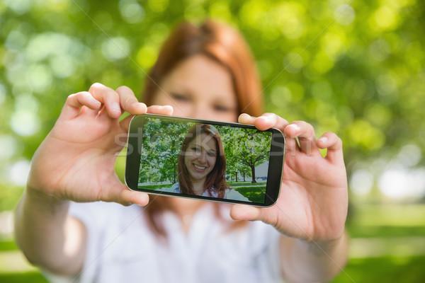 Stockfoto: Mooie · telefoon · park
