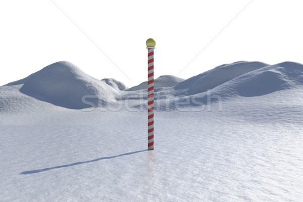 Digitally generated snowy landscape with pole Stock photo © wavebreak_media