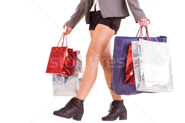 Senken Hälfte Frau Einkaufstaschen weiß Fuß Stock foto © wavebreak_media