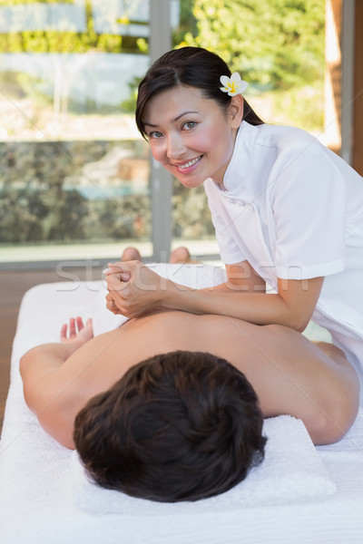 Foto stock: Feminino · massagista · de · volta · estância · termal · centro