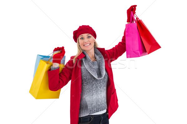 ブロンド 冬 服 ショッピングバッグ 白 ストックフォト © wavebreak_media