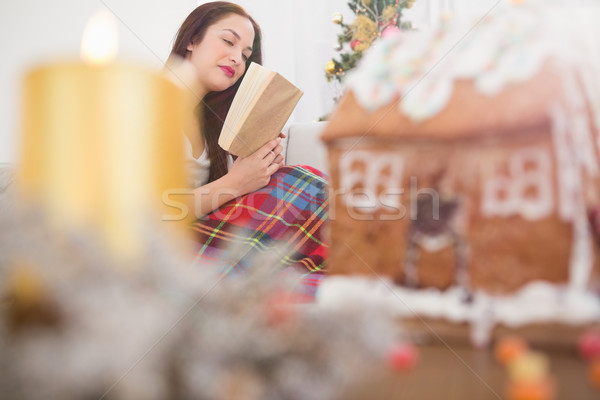 Peaceful brunette reading on the couch with cover Stock photo © wavebreak_media