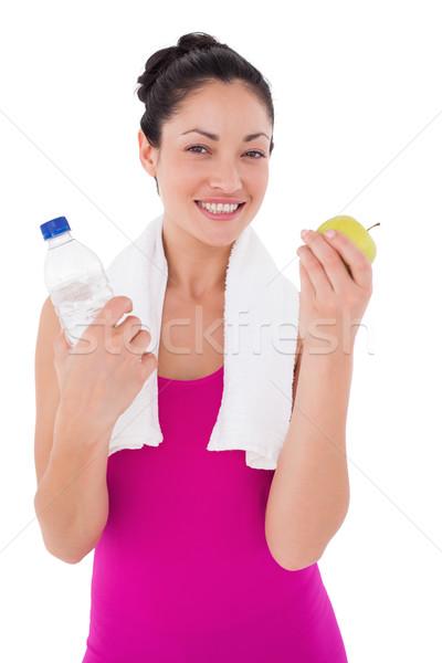 Caber mulher sorrindo câmera branco maçã fitness Foto stock © wavebreak_media
