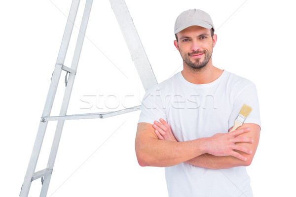 handyman with paintbrush and ladder  Stock photo © wavebreak_media