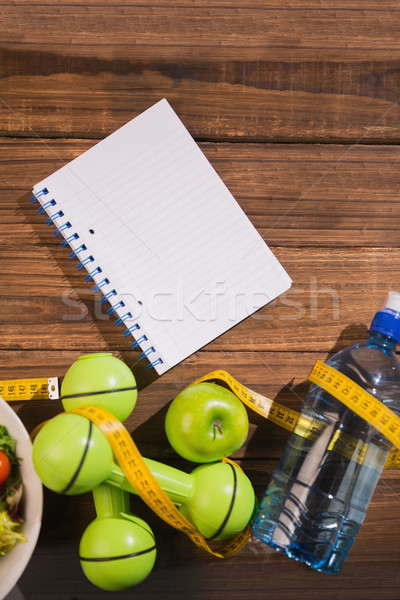 Bloco de notas mesa de madeira comida saúde tabela Foto stock © wavebreak_media