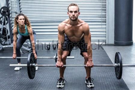 мышечный человека штанга crossfit спортзал Сток-фото © wavebreak_media