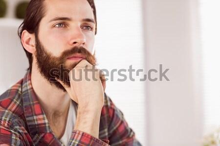 ヒップスター ビジネスマン 座って デスク オフィス コンピュータ ストックフォト © wavebreak_media