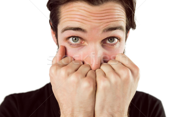 Assustado mãos cara branco masculino Foto stock © wavebreak_media
