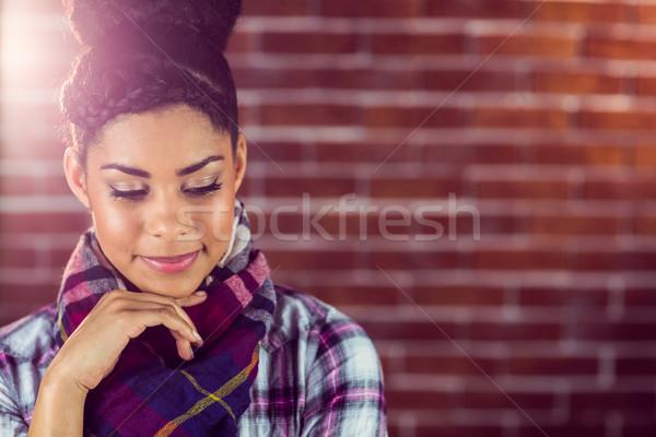 Belle perdu pensées rouge mur de briques Photo stock © wavebreak_media
