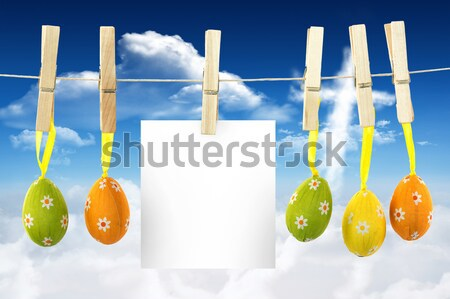 Easter Eggs on pegs with note in front of blue sky Stock photo © wavebreak_media
