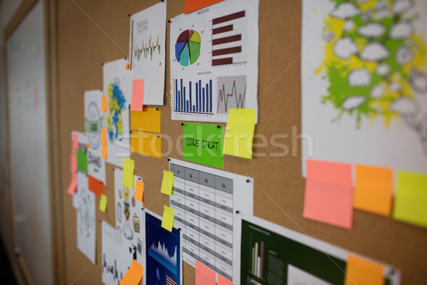 Charts and adhesive notes on board Stock photo © wavebreak_media
