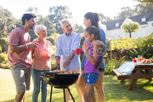 Family talking while preparing barbecue in the park Stock photo © wavebreak_media