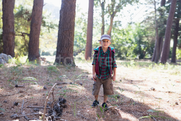 Portré fiú kirándulás erdő visel sapka Stock fotó © wavebreak_media