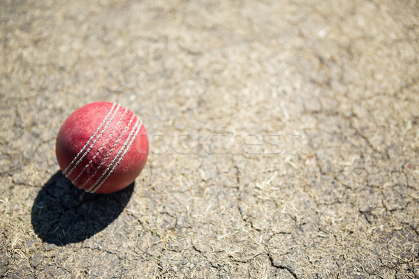 Stock photo: High angle view of cricket ball on pitch