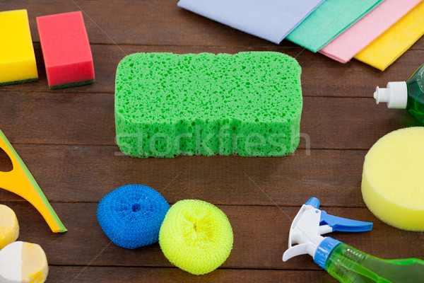 Detergent spray bottle and various cleaning equipment Stock photo © wavebreak_media