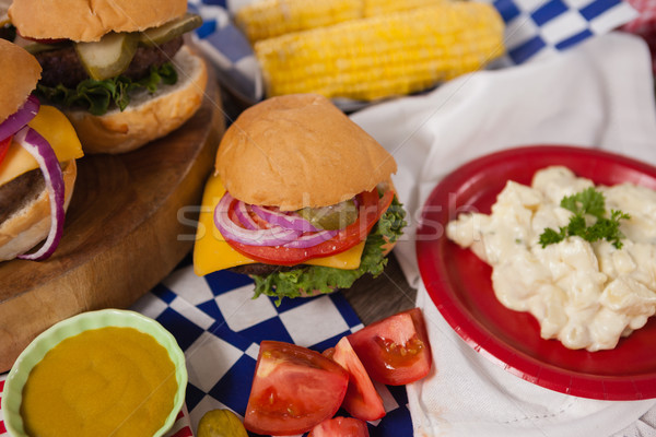 Hamburger decorato party tavola blu Foto d'archivio © wavebreak_media
