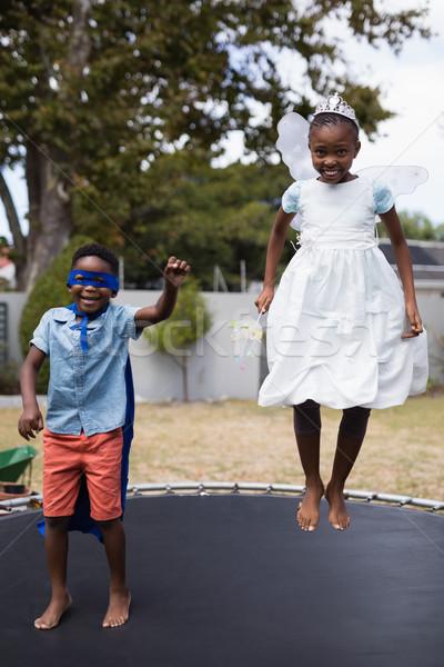 Fratelli costumi jumping trampolino prato Foto d'archivio © wavebreak_media