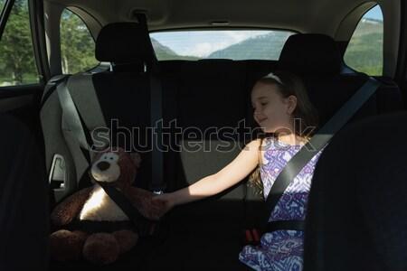Ragazza seduta orsacchiotto auto indietro sede Foto d'archivio © wavebreak_media