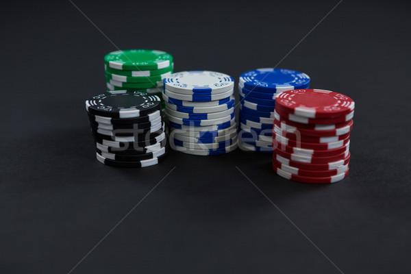 Chips zwarte tabel casino Blauw Stockfoto © wavebreak_media