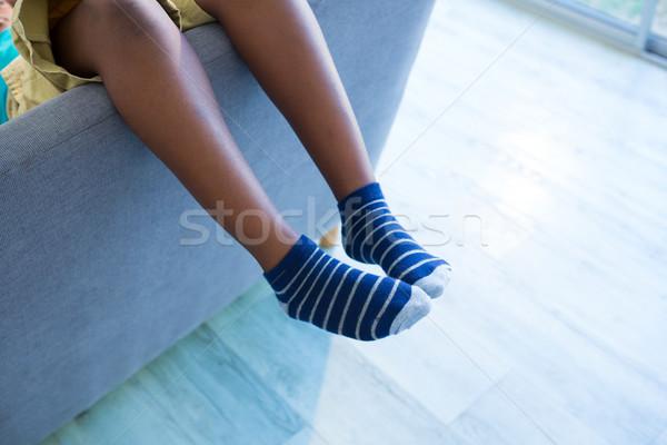 Düşük bölüm erkek oturma ev oturma odası Stok fotoğraf © wavebreak_media