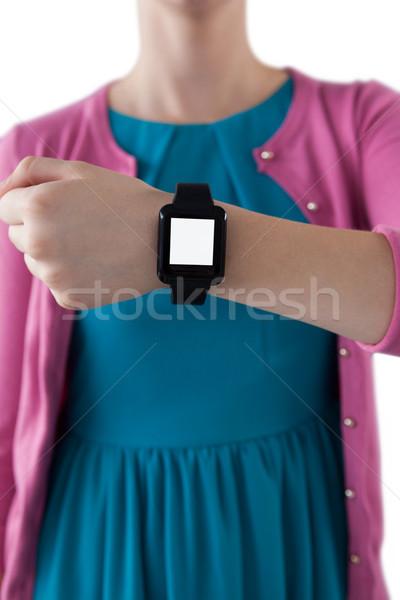 Teenage girl showing her smartwatch Stock photo © wavebreak_media