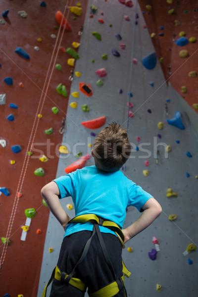 Thoughtful boy looking at wall in fitness studio Stock photo © wavebreak_media