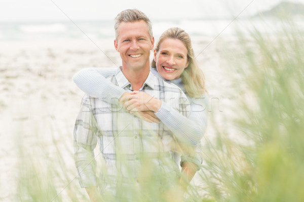 微笑 情侶 享受 時間 一起 海灘 商業照片 © wavebreak_media