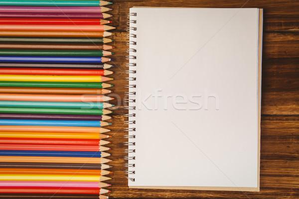 カラー 鉛筆 デスク 帳 ショット スタジオ ストックフォト © wavebreak_media