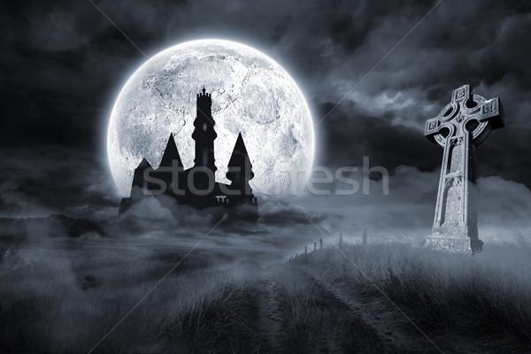 Castle and grave under full moon Stock photo © wavebreak_media