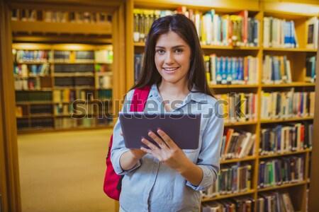 зрелый студент библиотека таблетка университета женщину Сток-фото © wavebreak_media