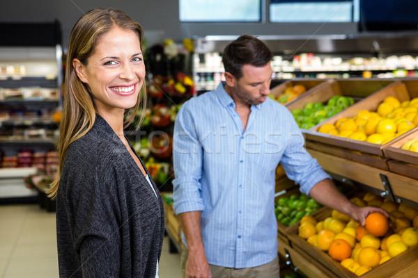 Stockfoto: Gelukkig · paar · kruidenier · winkelen · supermarkt · business