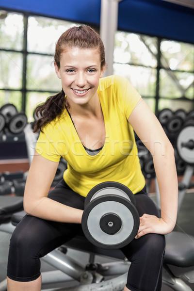 きれいな女性 ダンベル ジム 女性 幸せ ストックフォト © wavebreak_media