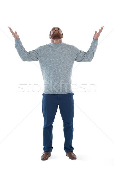 Male executive gesturing against white background Stock photo © wavebreak_media