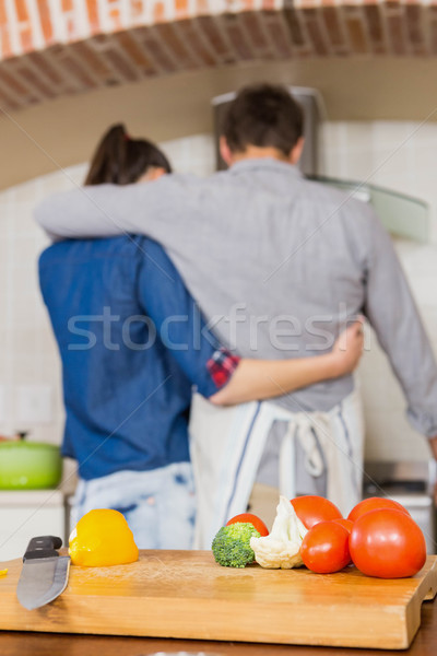 Sebze çift yemek mutfak Stok fotoğraf © wavebreak_media