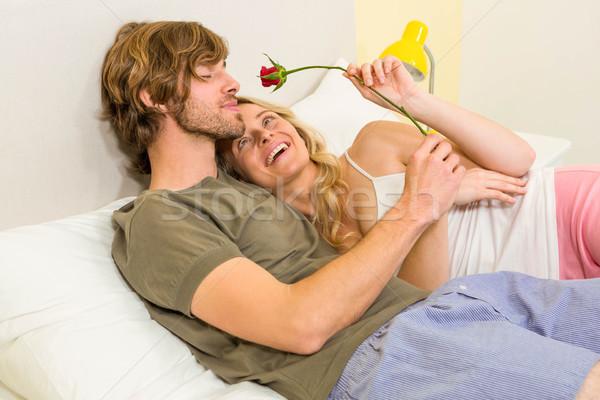 Cute пару дружок закрывается спальня Сток-фото © wavebreak_media