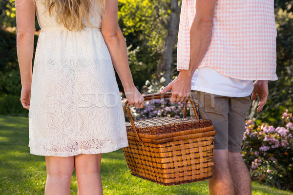 çift piknik sepeti birlikte bahçe Stok fotoğraf © wavebreak_media