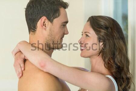Fiatal pér átkarol fürdőszoba közelkép áll szemtől szembe Stock fotó © wavebreak_media
