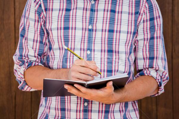 Man schrijven dagboek houten hout Stockfoto © wavebreak_media