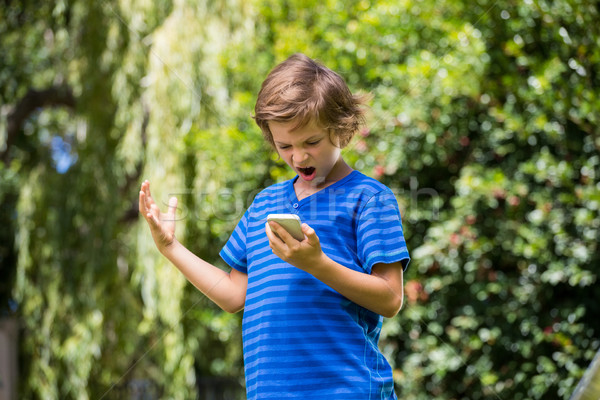 A little boy is angry with his mobile phone Stock photo © wavebreak_media