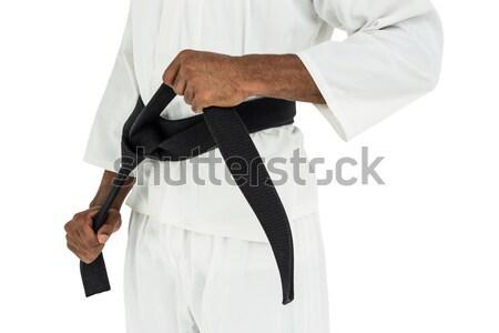 Laag karate speler permanente witte Stockfoto © wavebreak_media