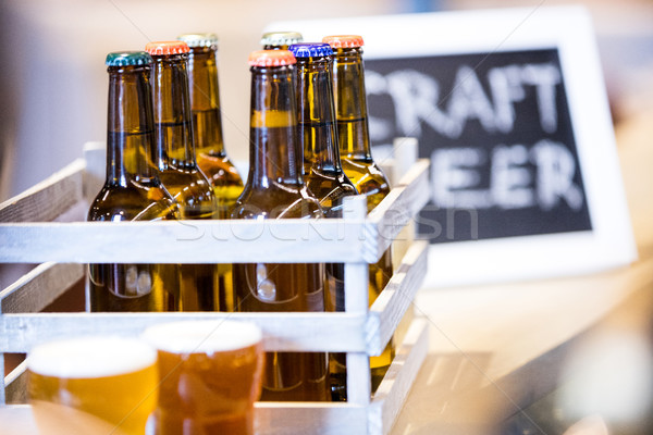 Close-up of beer bottles in crate Stock photo © wavebreak_media
