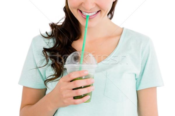 изображение улыбающаяся женщина сока белый женщину питьевой Сток-фото © wavebreak_media