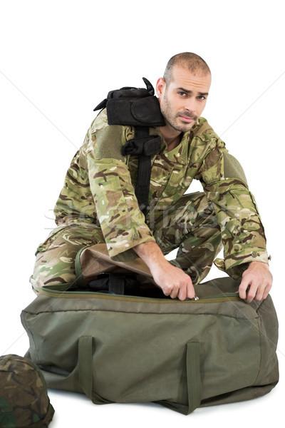 Solider packing his bag Stock photo © wavebreak_media