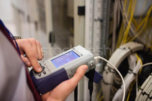 Technikus digitális kábel középső rész szerver szoba Stock fotó © wavebreak_media