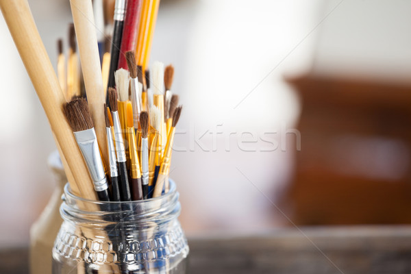 Set of paint brushes in a jar Stock photo © wavebreak_media